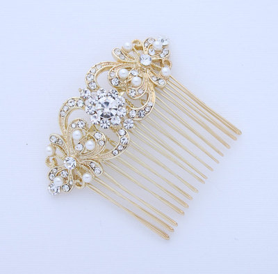 pearl hair b gold wedding bridal hair accessory crystal pearl hair b old hollywood great