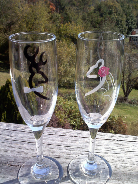 Browning Deer Bride and Groom Wedding Champagne Flutes