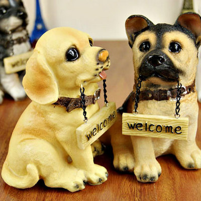 Set Of 4 Handmade Miniature Golden Retriever Dog Puppy Figures