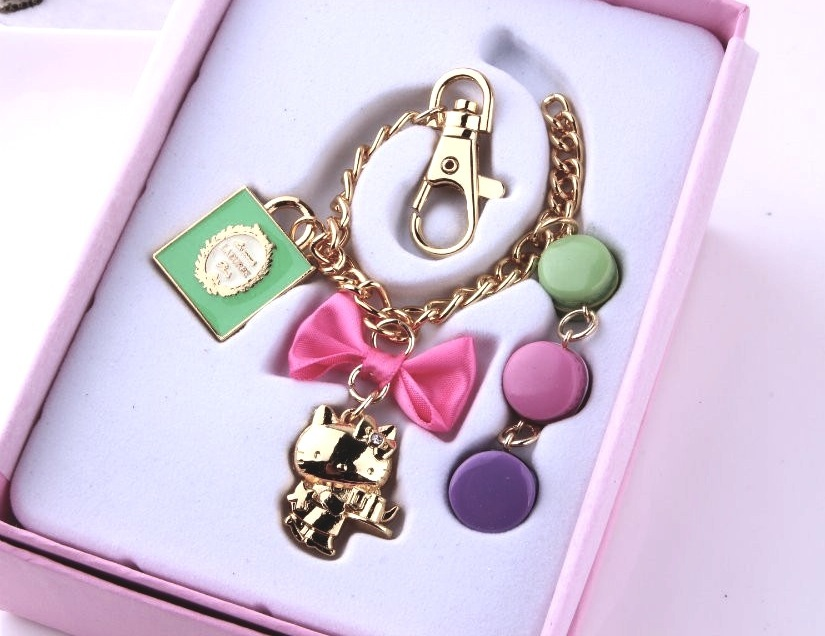 a1228ce759f2 New Laduree Hello Kitty Macaron Key Chain Cute Bag Charm Bracelet Gift Box  Set Triplet Bag