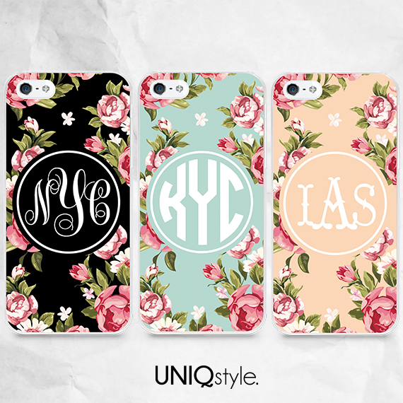 floral personalized monogram initials phone case for iphone 7 6 6s samsung note 5 s6 s7 s8