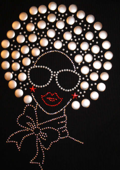 Diva Fashion girlladywoman with afro Rhinestone