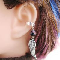Feather Wing Earring, Helix Ear Cuff in Red, Blue and ...
