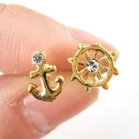Small Anchor and Wheel Nautical Stud Earrings in Gold ...
