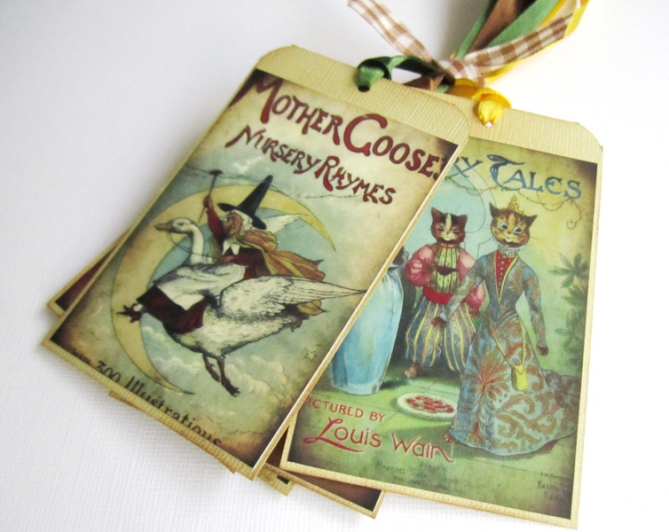 Mother Goose Children Fairytale Storybook Tags, Vintage