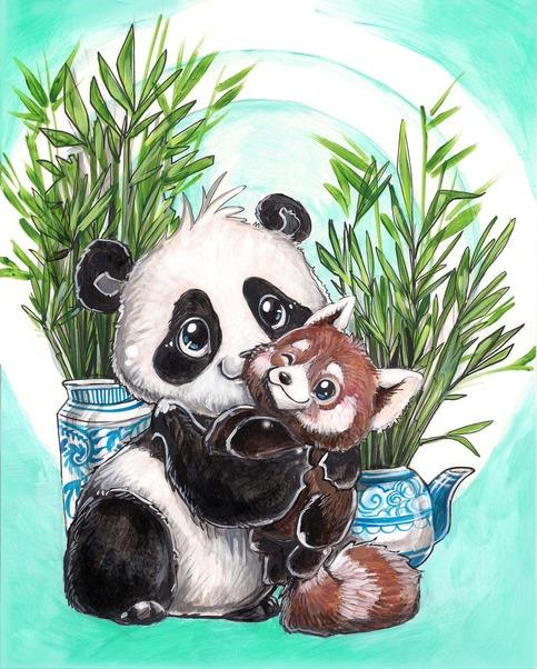 Panda Red Panda Print Art Of Bianca Roman Stumpff