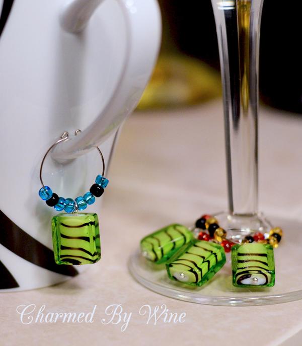 Zebra Stripe Wine Charms (Set of 4)