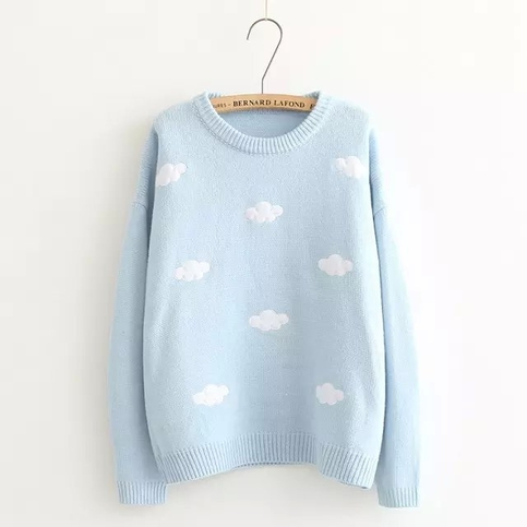 free shipping cute round neck cloud knitted pullover sweatshirt on storenvy