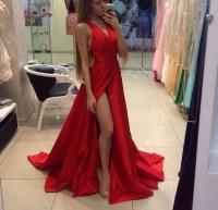 Red Off shoulder Prom dresses, 2017 Long prom dresses ...