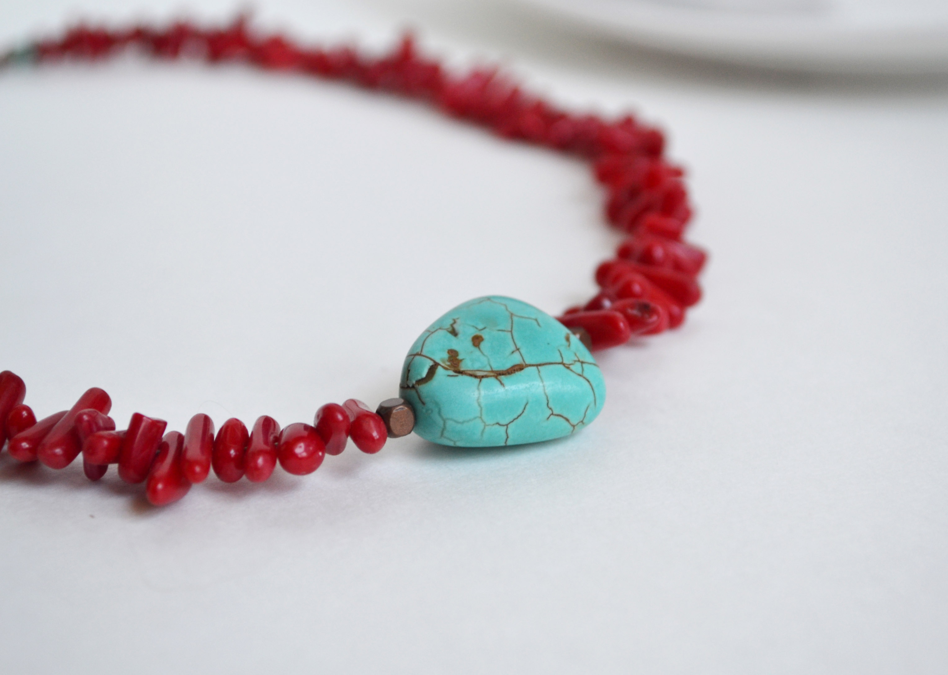 Turquoise and Coral Choker Short Coral Necklace Beach