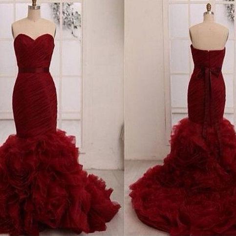 burgundy prom dressesBurgundy Trumpet Mermaid Sweetheart