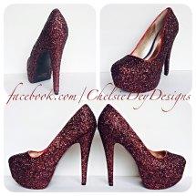 Burgundy High Heel Wedding Shoes