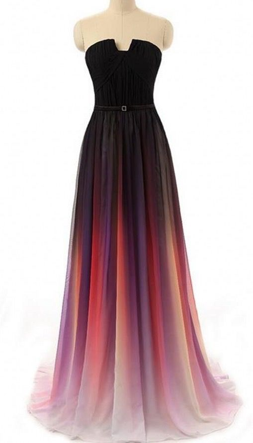 fading color prom dress