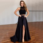 Long Black Two Piece Prom Dress