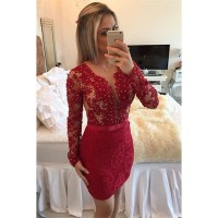 Scoop Neck See-though Lace Short Prom Dress, Long Sleeved ...