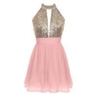 Sweet Halter Short Backless Chiffon Prom Dress, Sparkling ...