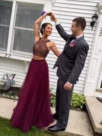 Unique Burgundy Two Piece Beaded Tulle Long Prom Dresses ...