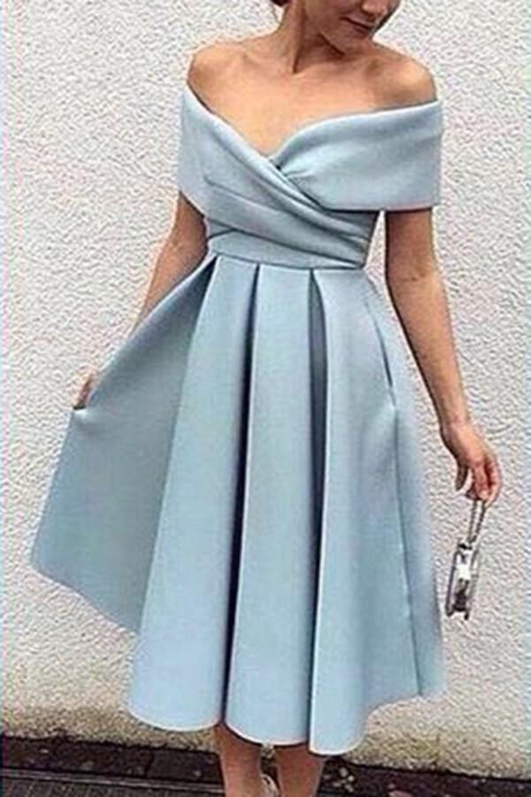 Light Blue Chiffon -shoulder -line Knee-length Dress