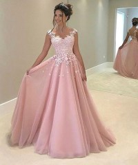White Lace Appliqued Prom Dress,Ball Gown Pink Prom