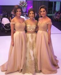 Off the shoulder bridesmaid dresses, champagne bridesmaid ...