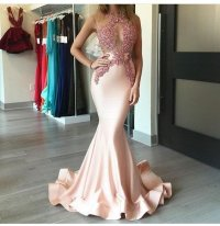 Sexy Mermaid Pink Long Evening Prom dresses, 2017 Long ...