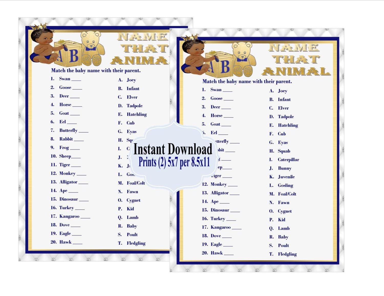 Printable Name That Baby Animal Game Royal Baby Shower