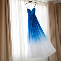 Royal Blue Omre white Bridesmaid Dresses,Ombre dress for ...