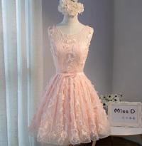 Peach Lace Short Peach Cute Homecoming Prom Dresses ...