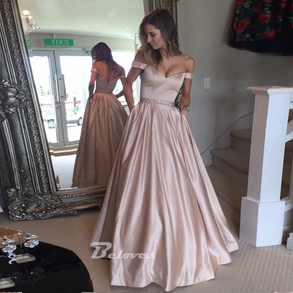 2017 Pink Shoulder Prom Dress Line Formal Gown