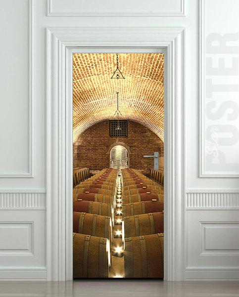Door STICKER wine rowed cellar barrel kitchen vine