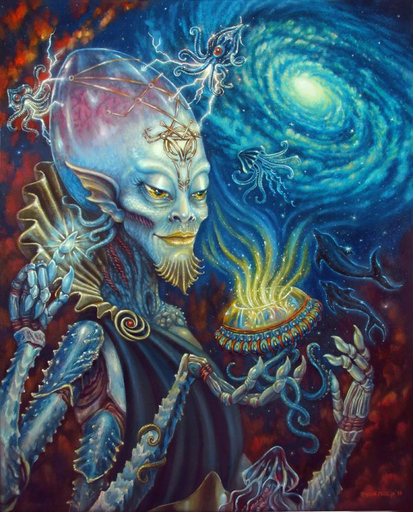 King Of Cups Print Sci-fi Painting Alien Artwork Bizarre Storenvy