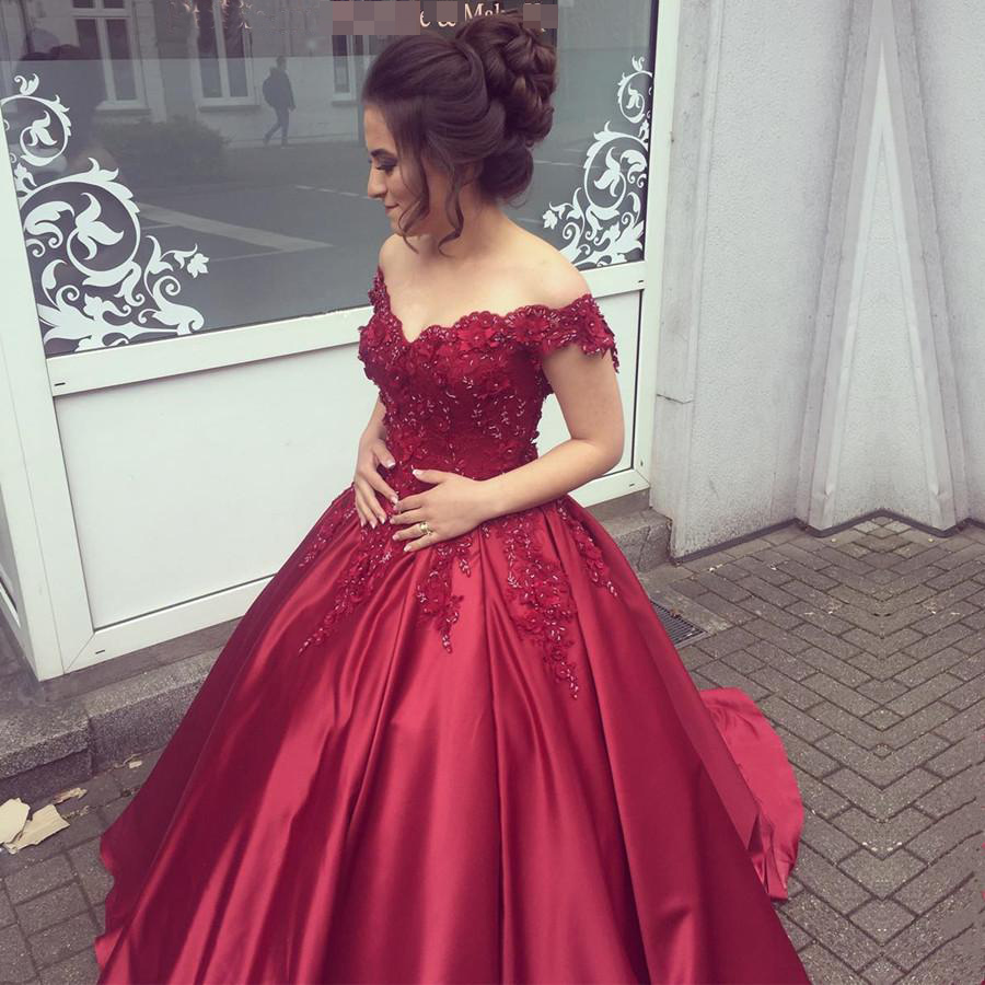 Burgundy Off the Shoulder Quinceanera DressesBall Gown