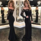 Tight Long Sleeve Black Lace Prom Dress