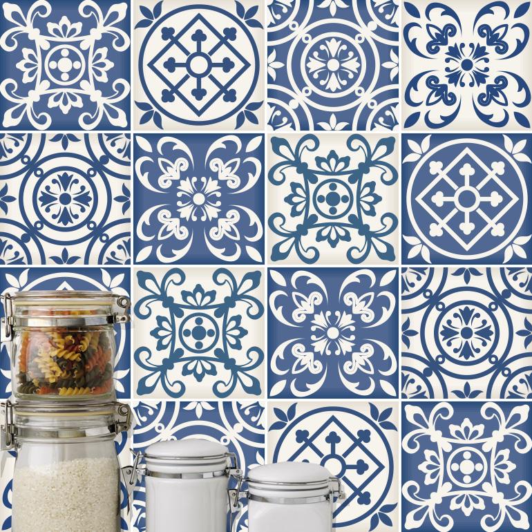 traditional spanish blue decor tile