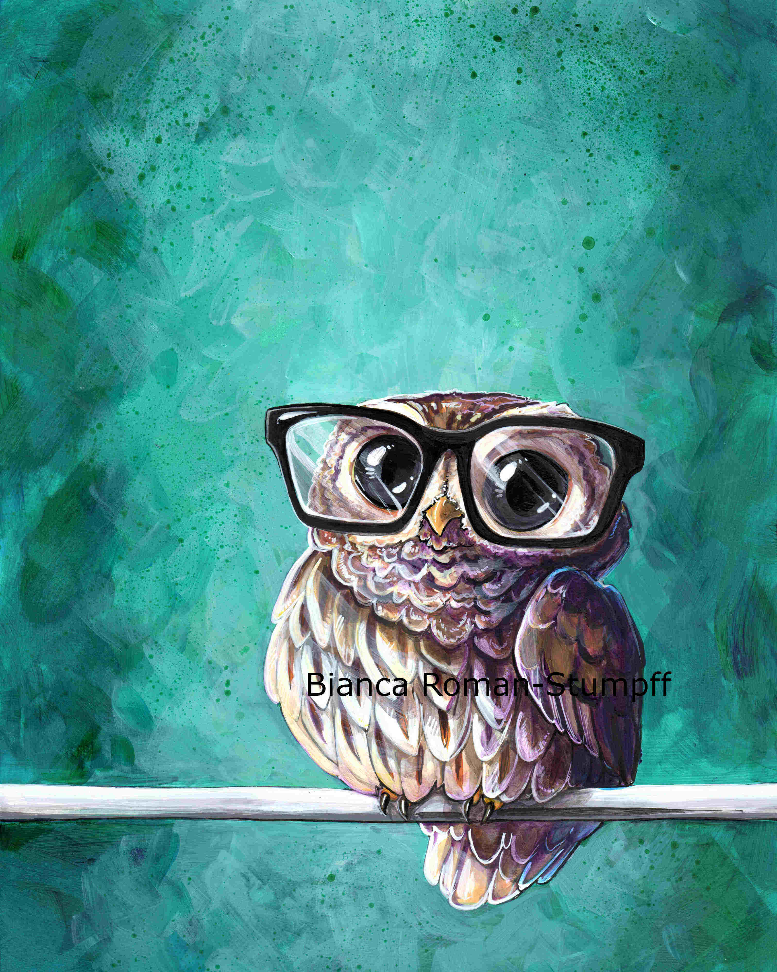 Intellectual Owl Print Art Of Bianca Roman Stumpff