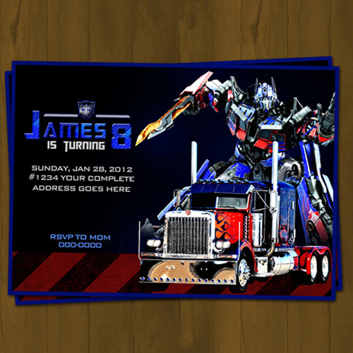 Optimus Prime Transformers Birthday Invitation on Storenvy