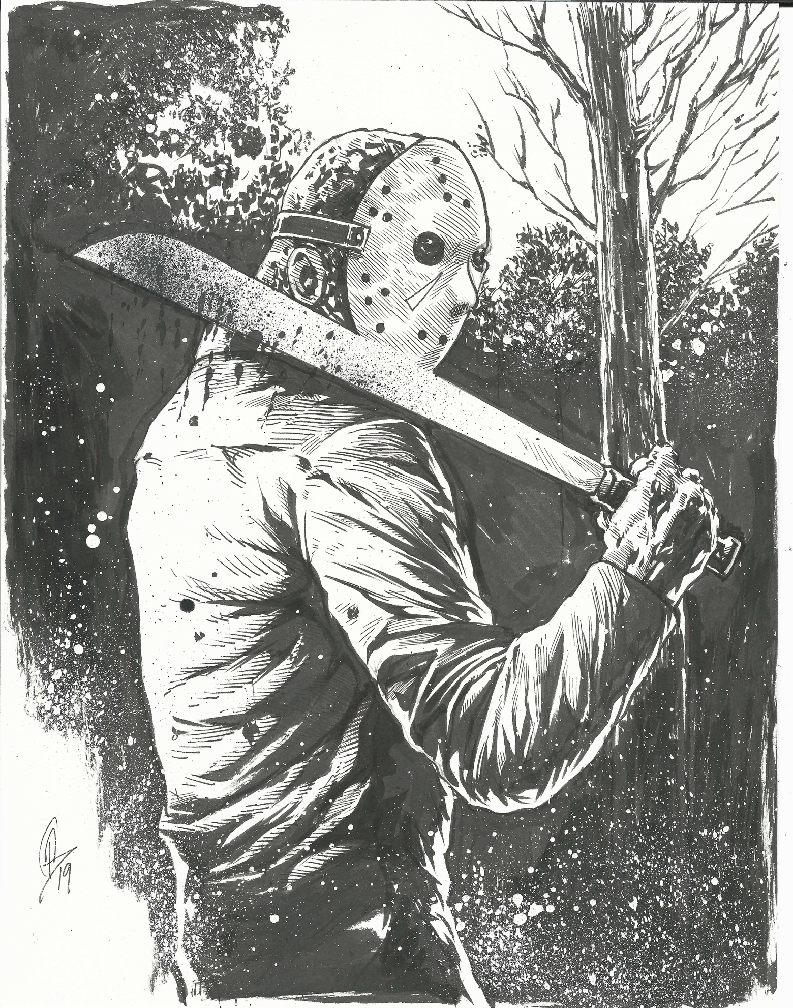 Jason Friday The 13th Drawing : jason, friday, drawing, Jason, Voorhees, (Friday, 13th), Original, Drawing, 8.5x11, Beistel, Comic, Online, Store, Powered, Storenvy