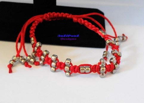 Red w/ Silver Gold Lined Seed Beads Macrame Bracelet