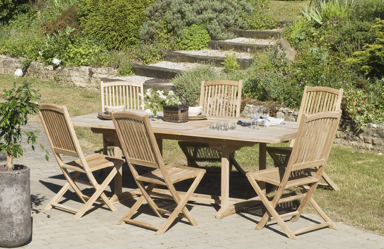Table De Jardin Teck Pliante Salon Jardin Teck Table Rectangle 240x120cm 6 Chaises Summer