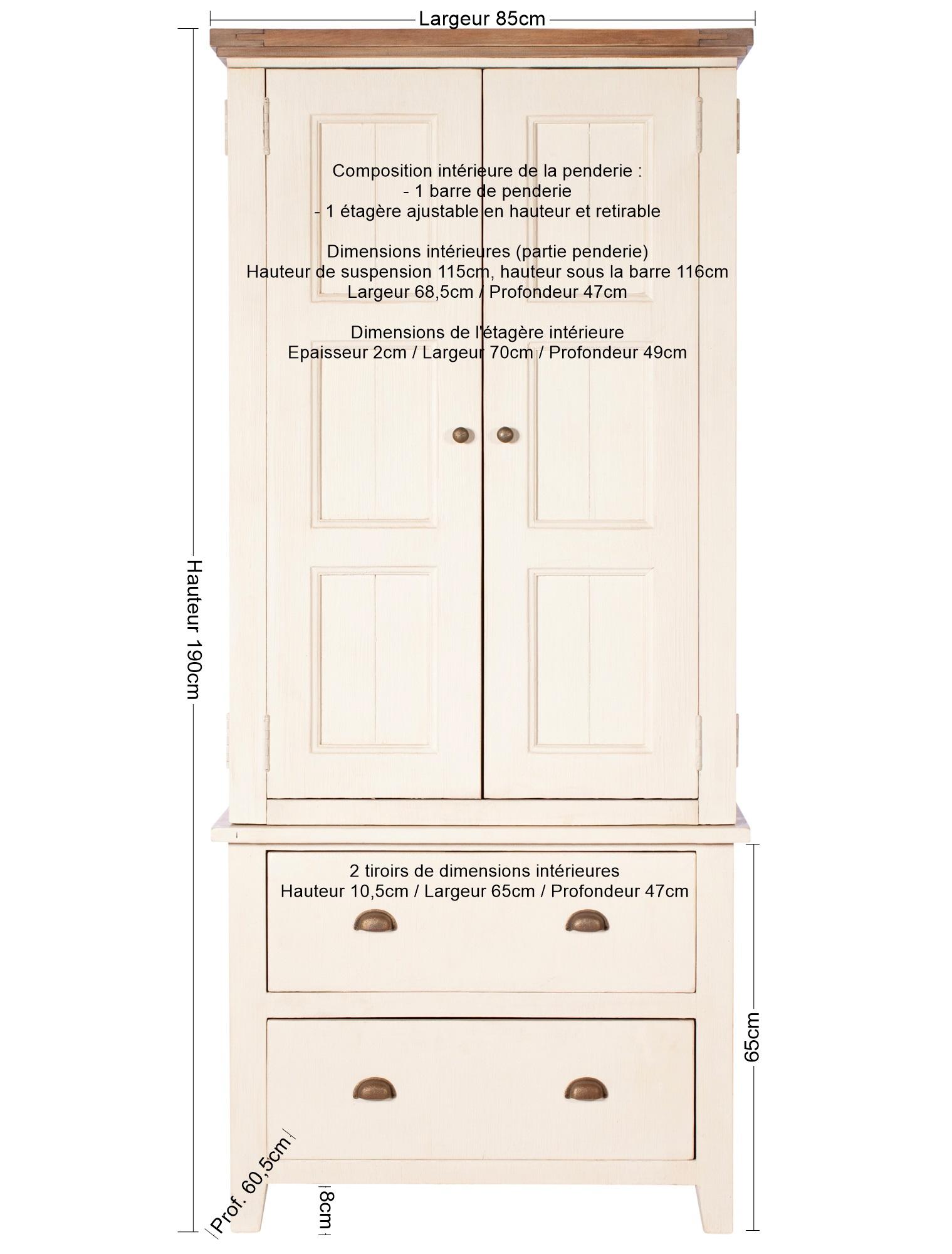 armoire penderie blanche bois recycle 85 cm bristol