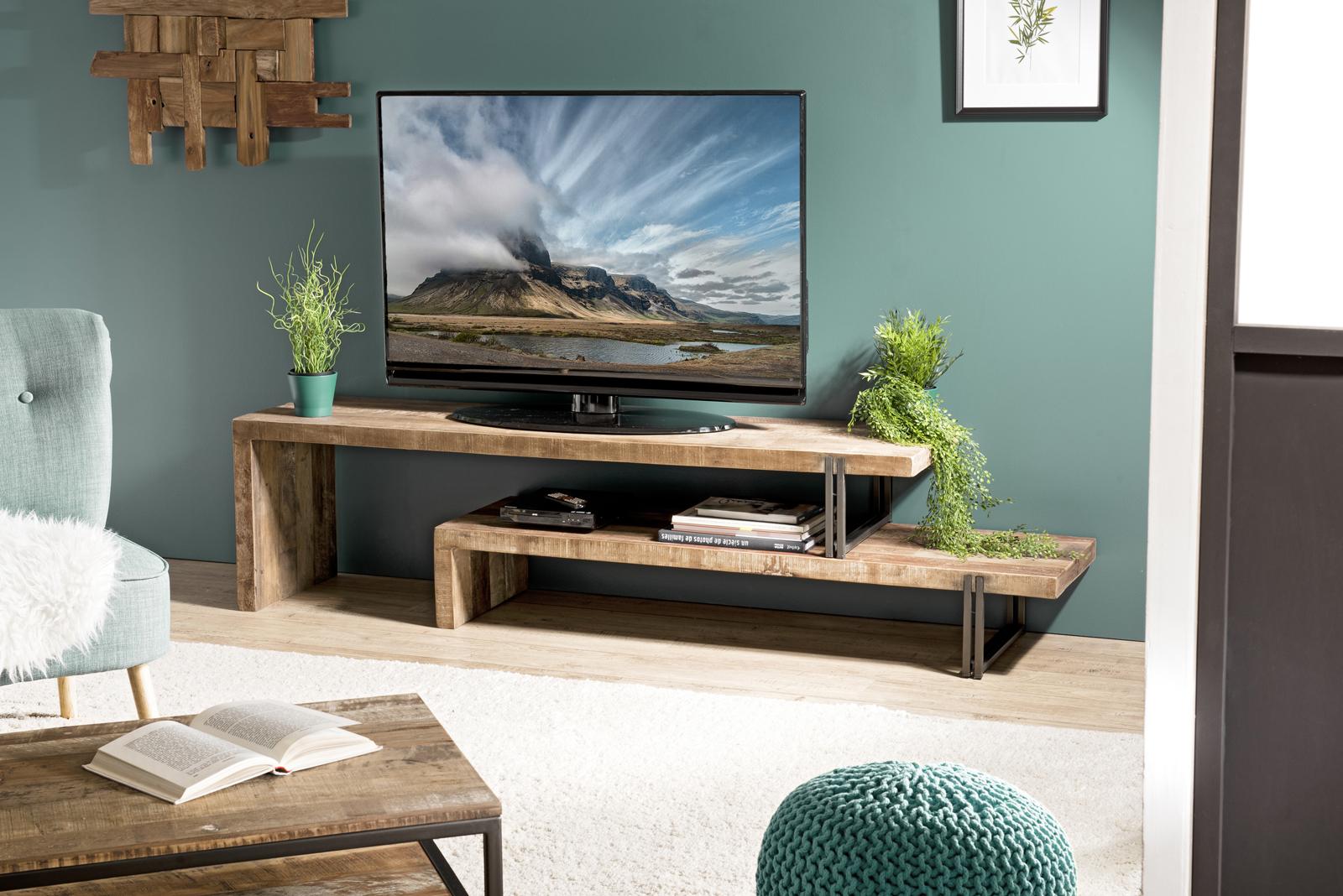 banc tv bois recycle 2 niveaux swing