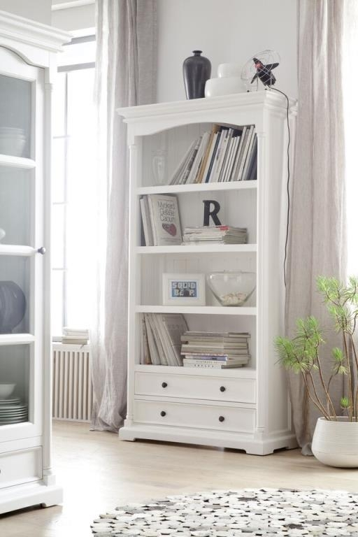 bibliotheque etagere en bois blanc 2 tiroirs acajou 100x190cm royan
