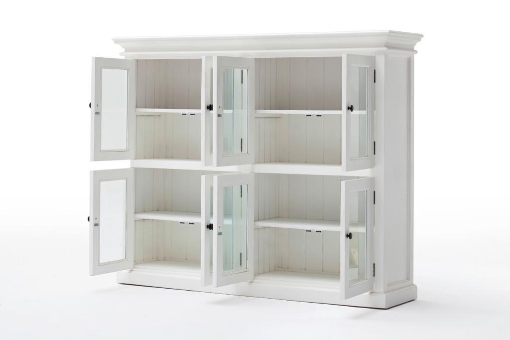 bibliotheque vitree en bois blanc 8 portes acajou 132x165cm royan