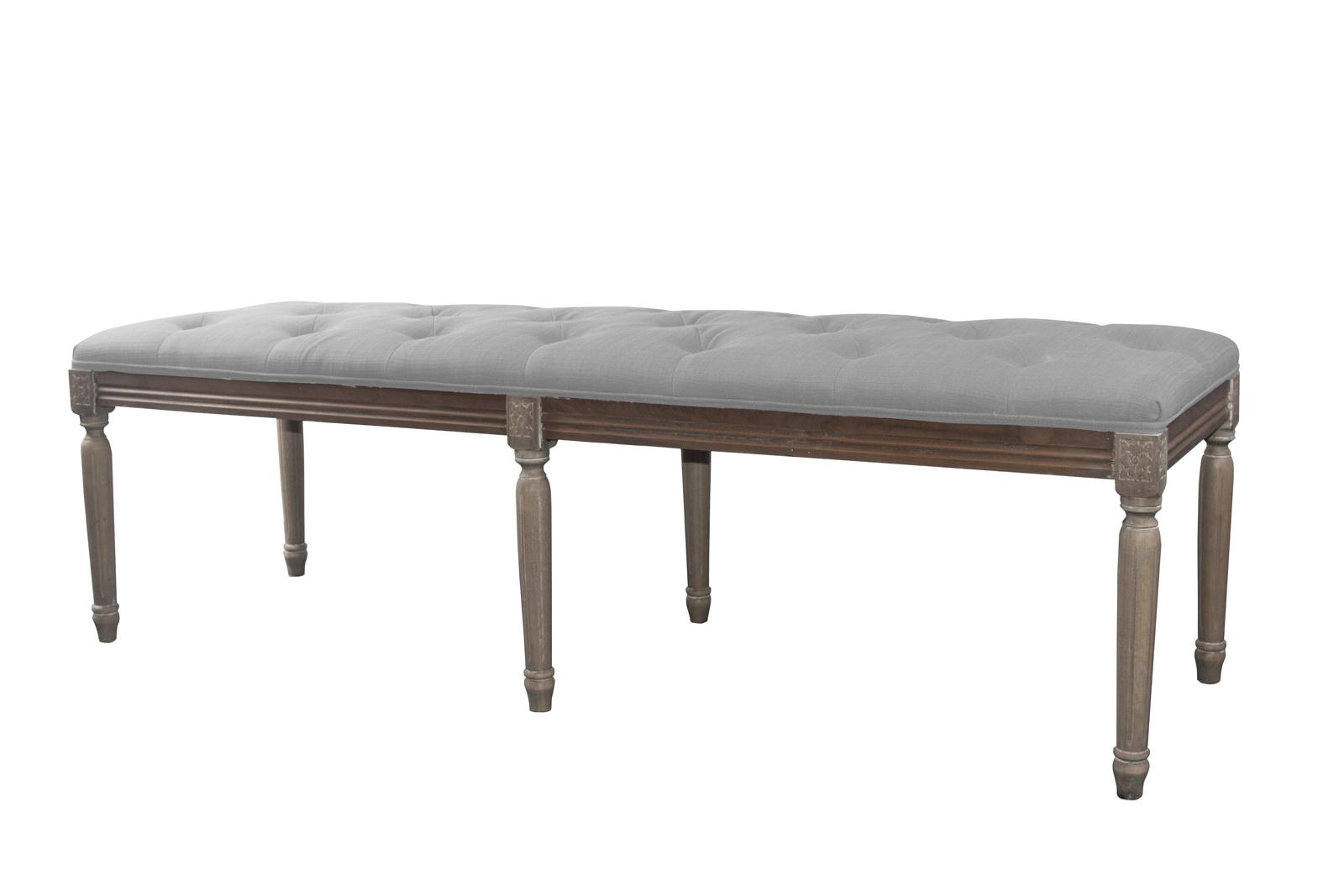 bout de lit banc capitonne en tissu gris clair 160x50xh48cm leon