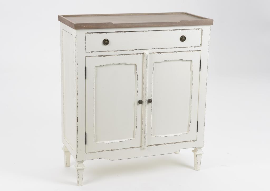 buffet ancien blanc et bois 2 portes style parisien gustave l 80 x p 35 x h 90 amadeus