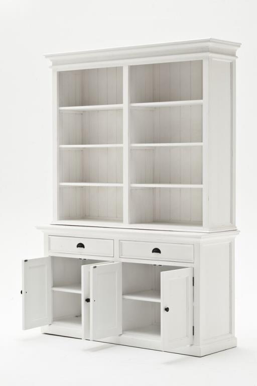 buffet bibliotheque bois blanc 2 tiroirs 4 portes acajou 160x220cm royan