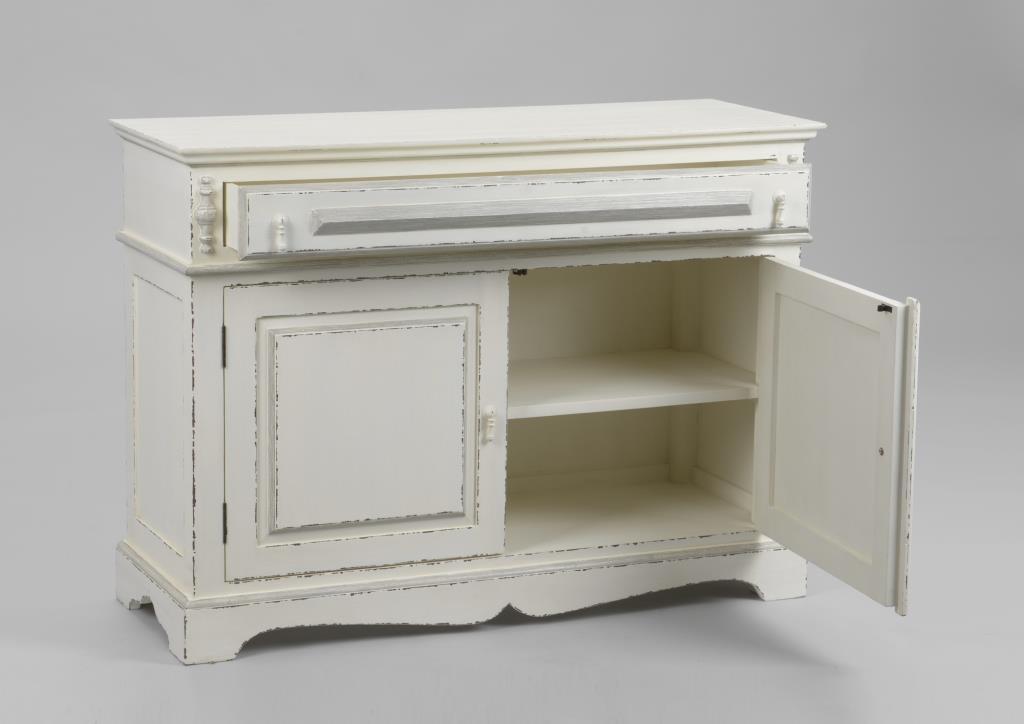 buffet parisien 2 portes bois blanc vieilli classique chic ornement l 110 x p 40 x h 80 amadeus
