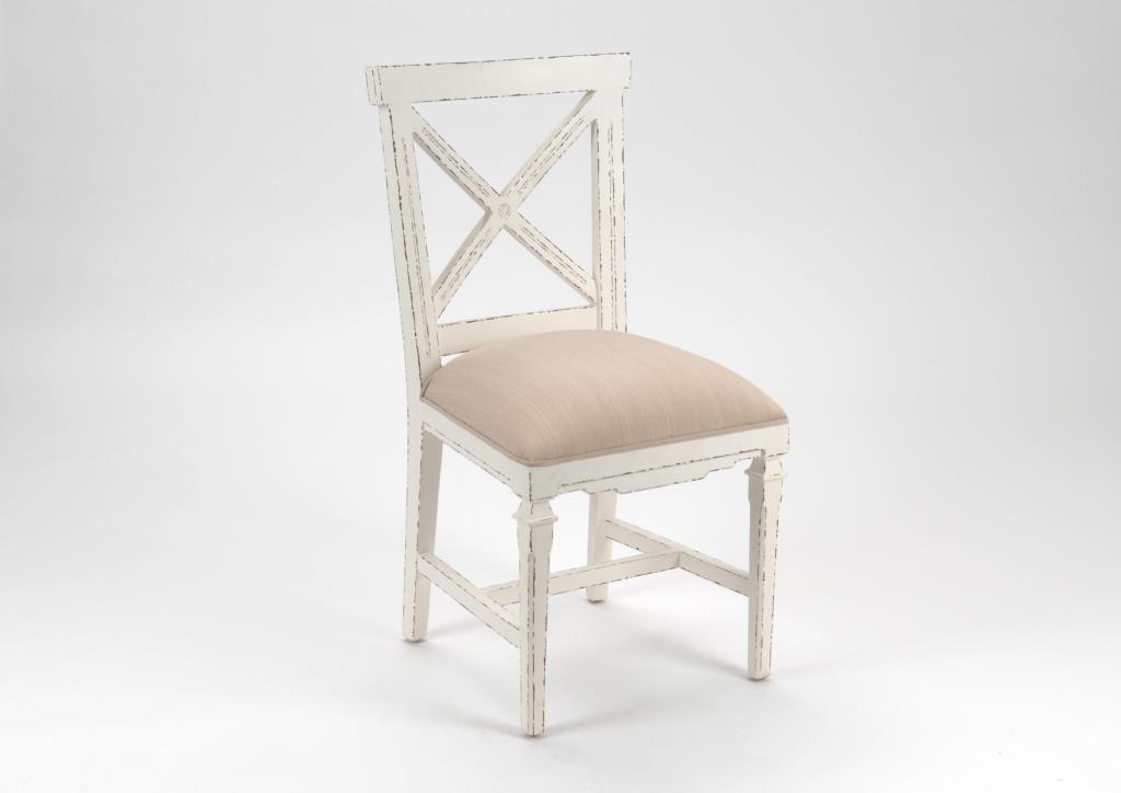 chaise croisillon bois vieilli blanc gustave l 50 x p 53 x h 95 amadeus
