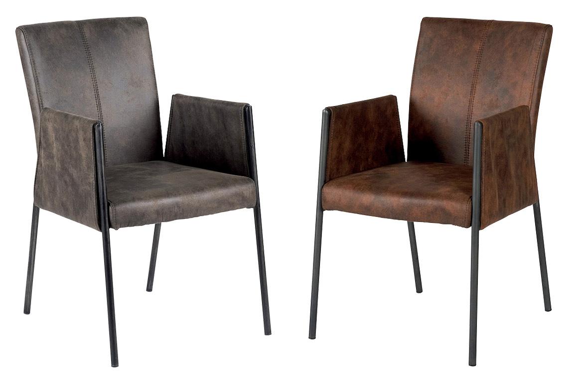 chaise fauteuil avec accoudoirs tissu microfibres havane et pieds metal noir 52x65x86cm