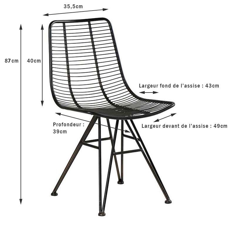 chaise industrielle metal noir filaire vulcan